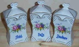 Drei Porzellandosen im Set, Fabr. Bunzlau - Salz - Zucker - Mehl mit Blumendekor - Bild vergrößern